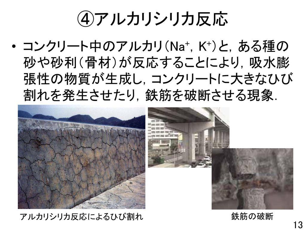 ④アルカリシリカ反応 コンクリート中のアルカリ(Na+,K+)と,ある種の砂や砂利(骨材)が反応することにより,吸水膨張性の物質が生成し,コンクリートに大きなひび割れを発生させたり,鉄筋を破断させる現象.