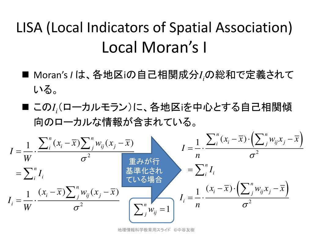 LISA (Local Indicators of Spatial Association) Local Moran's I