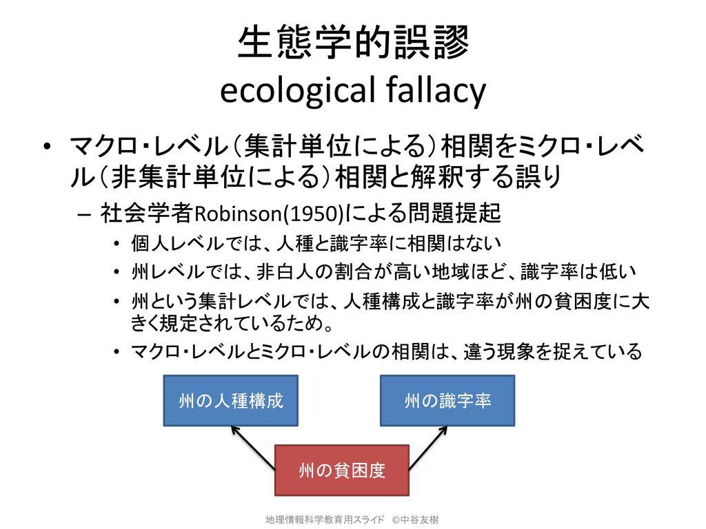 生態学的誤謬 ecological fallacy