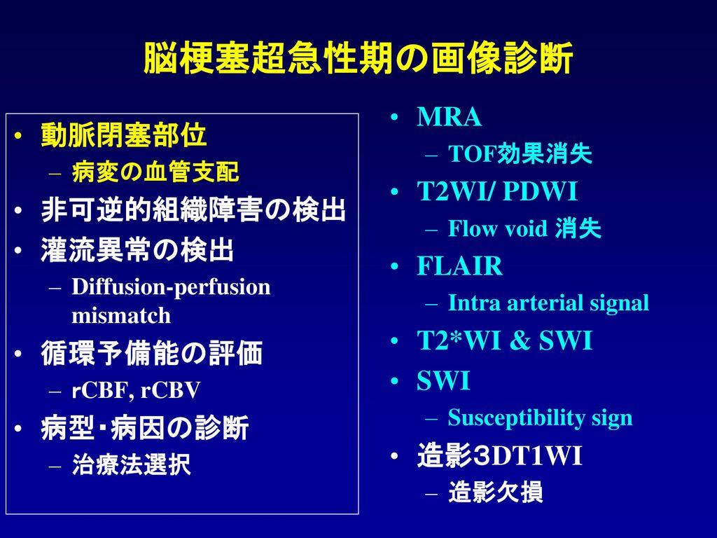 脳梗塞超急性期の画像診断 MRA 動脈閉塞部位 T2WI/ PDWI 非可逆的組織障害の検出 灌流異常の検出 FLAIR
