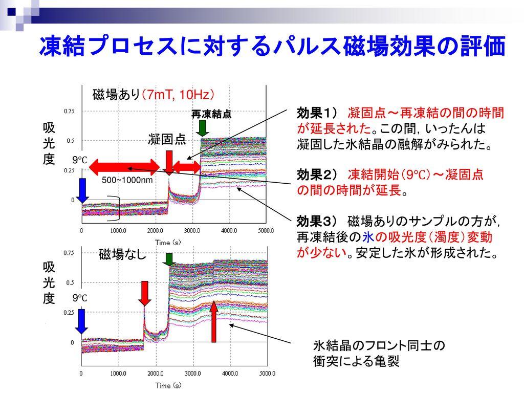 凍結プロセスに対するパルス磁場効果の評価