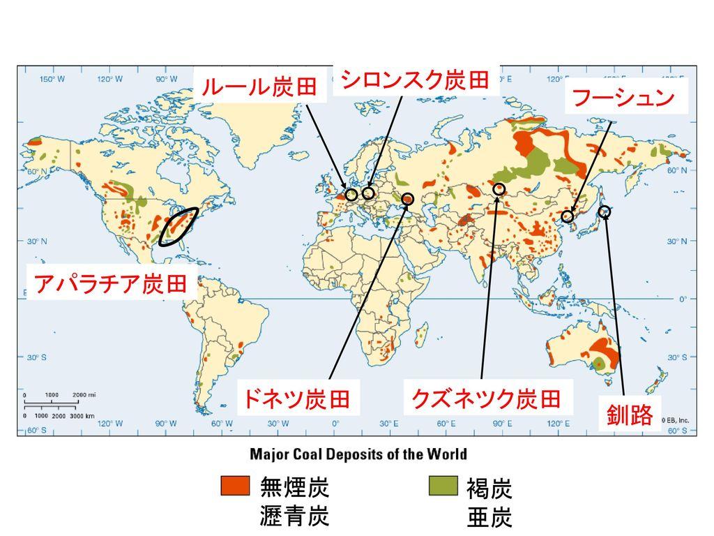 ③主な炭田 (炭田の場所は地図帳などで確認すること)
