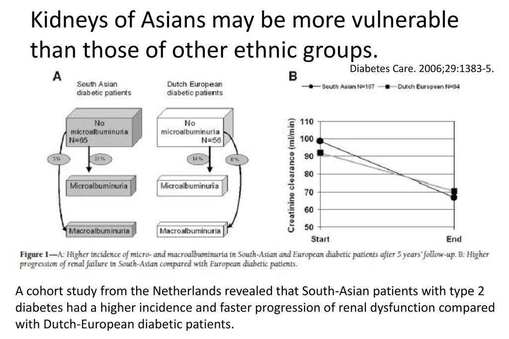 Kidneys of Asians may be more vulnerable than those of other ethnic groups.