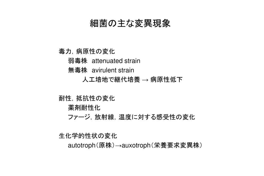 細菌の主な変異現象 毒力,病原性の変化 弱毒株 attenuated strain 無毒株 avirulent strain