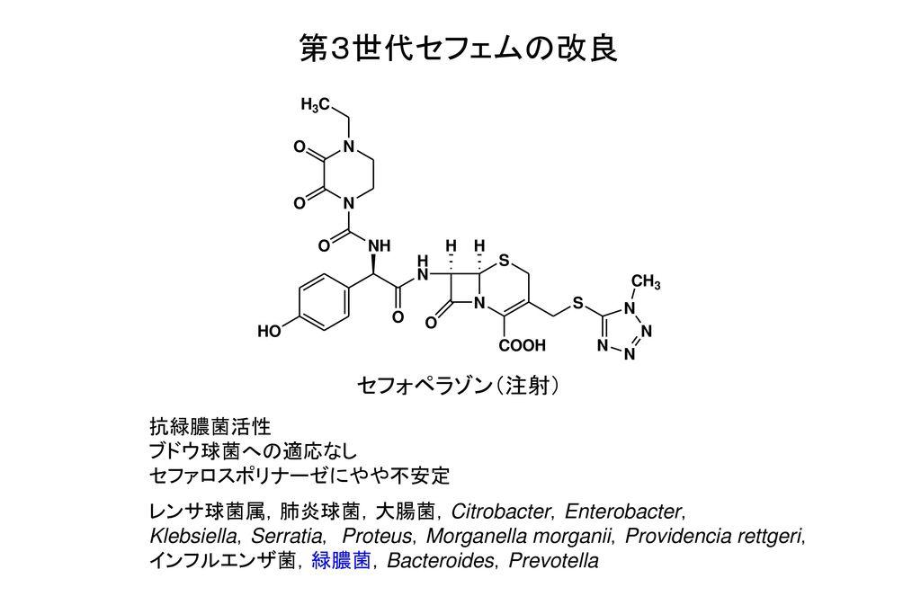 第3世代セフェムの改良 セフォペラゾン(注射) 抗緑膿菌活性 ブドウ球菌への適応なし セファロスポリナーゼにやや不安定