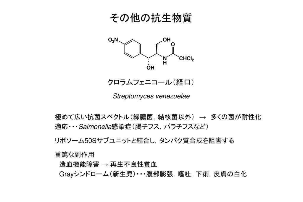 その他の抗生物質 クロラムフェニコール(経口) Streptomyces venezuelae