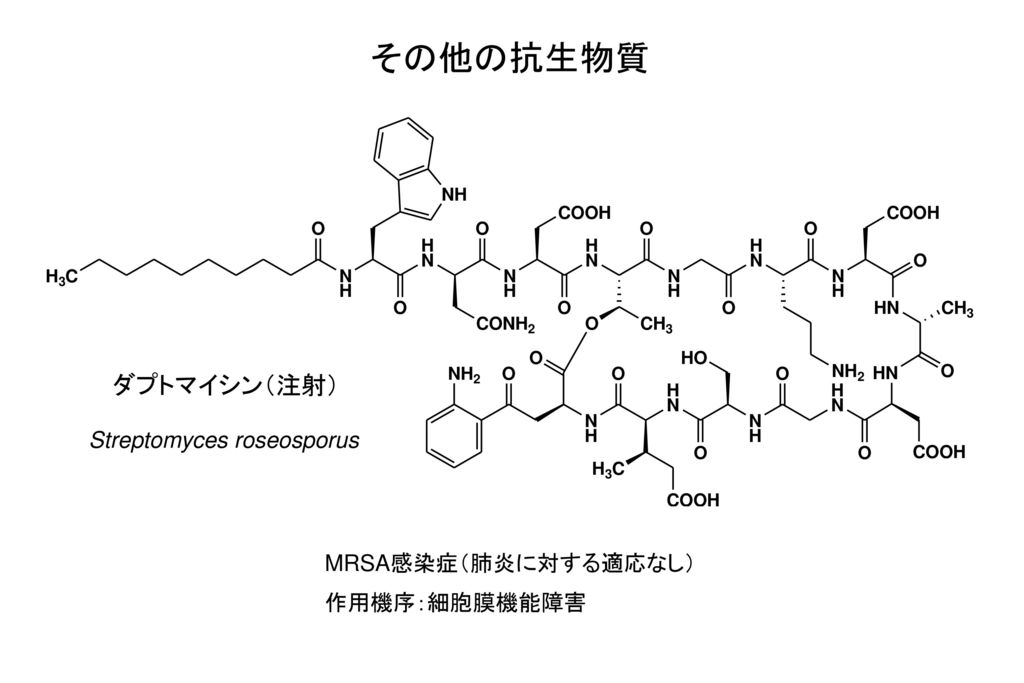 その他の抗生物質 ダプトマイシン(注射) Streptomyces roseosporus MRSA感染症(肺炎に対する適応なし)