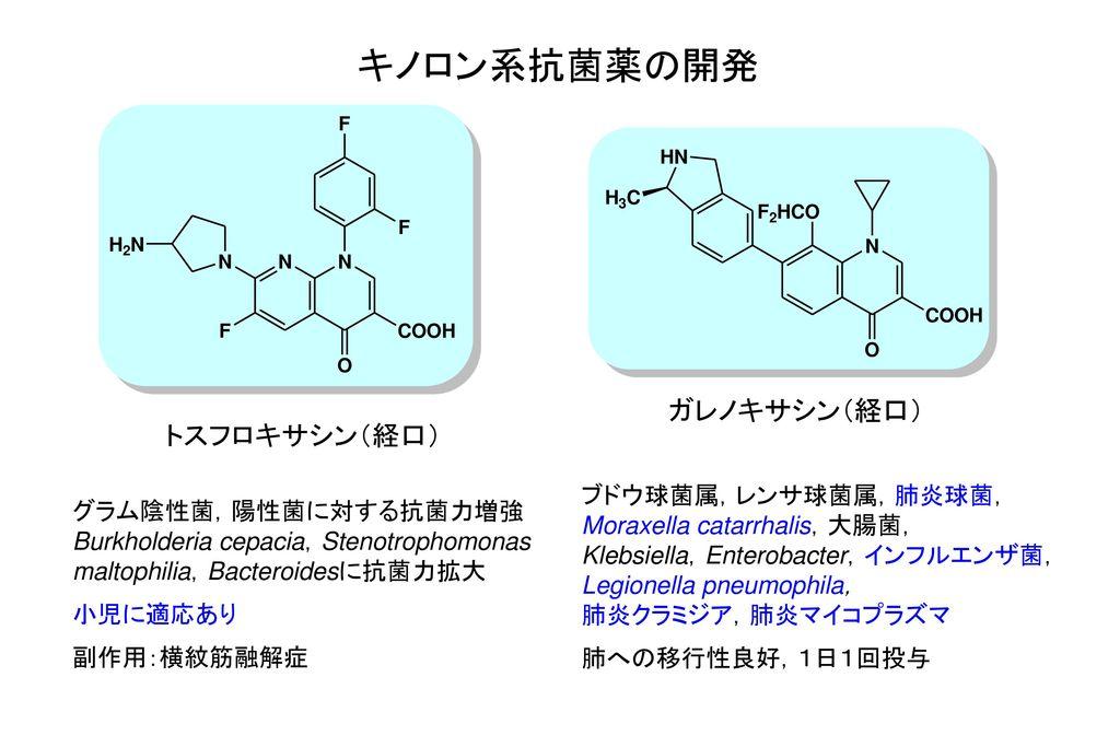 キノロン系抗菌薬の開発 ガレノキサシン(経口) トスフロキサシン(経口) ブドウ球菌属,レンサ球菌属,肺炎球菌,