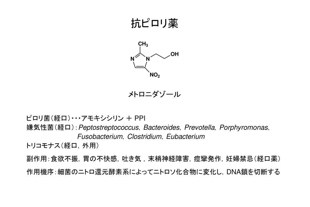 抗ピロリ薬 メトロニダゾール ピロリ菌(経口)・・・アモキシシリン + PPI