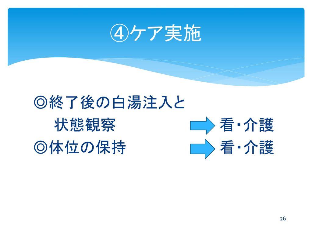 ④ケア実施 ◎終了後の白湯注入と 状態観察 看・介護 ◎体位の保持 看・介護