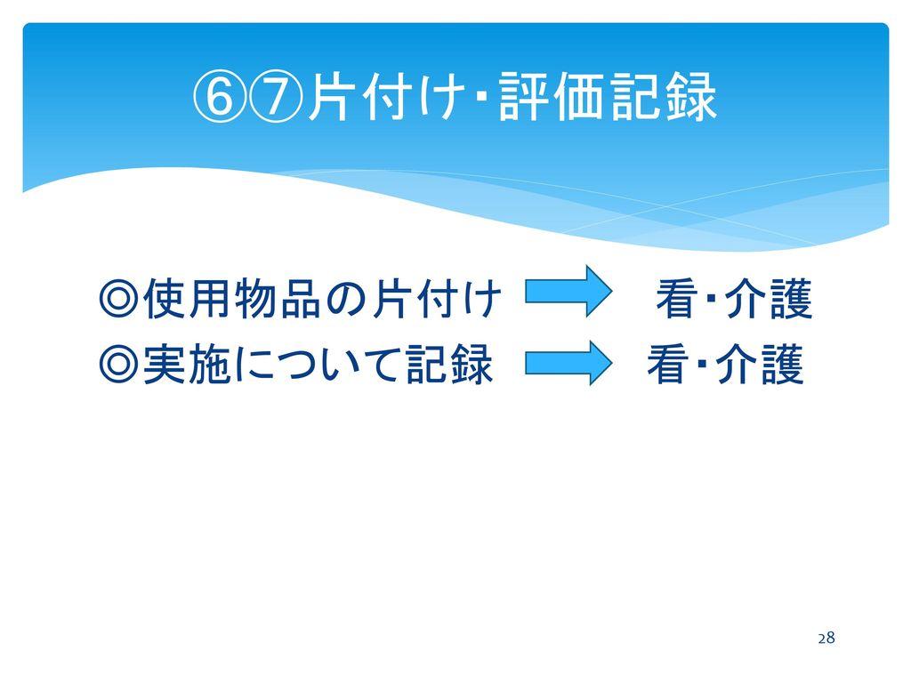 ⑥⑦片付け・評価記録 ◎使用物品の片付け 看・介護 ◎実施について記録 看・介護