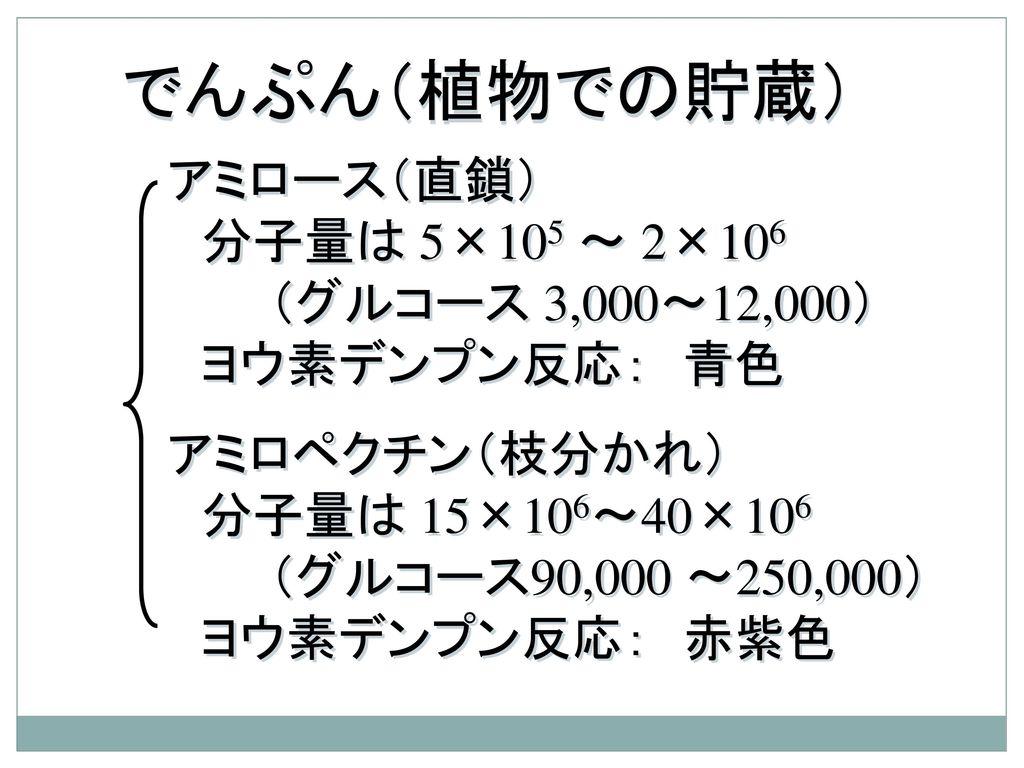 でんぷん(植物での貯蔵) アミロース(直鎖) 分子量は 5×105 ~ 2×106 (グルコース 3,000~12,000)