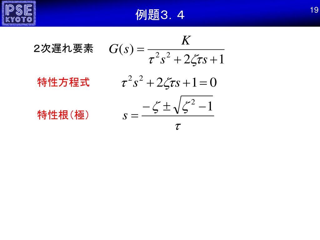 例題3.4 19 2次遅れ要素 特性方程式 特性根(極)