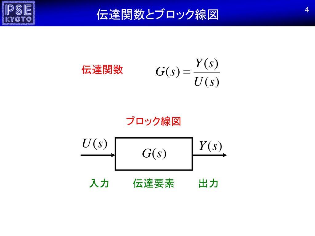 伝達関数とブロック線図 4 伝達関数 ブロック線図 入力 伝達要素 出力