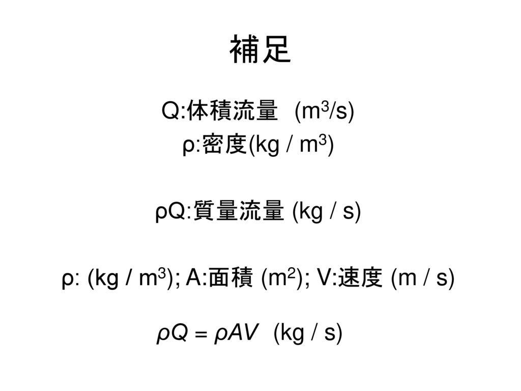 ρ: (kg / m3); A:面積 (m2); V:速度 (m / s)