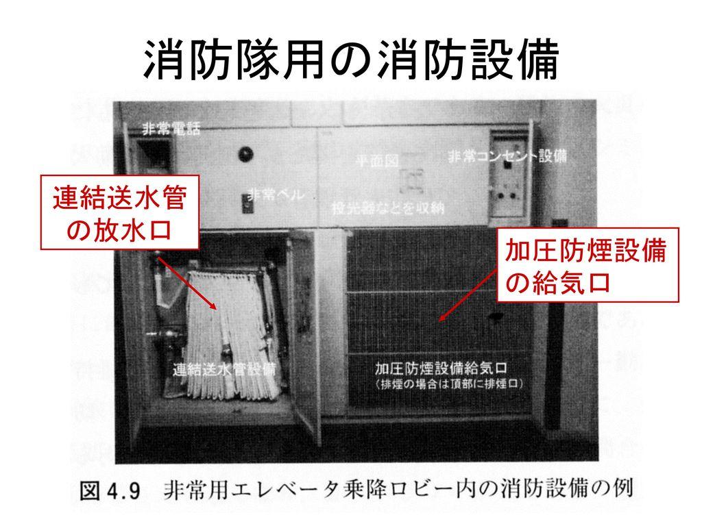 消防隊用の消防設備 連結送水管 の放水口 加圧防煙設備 の給気口