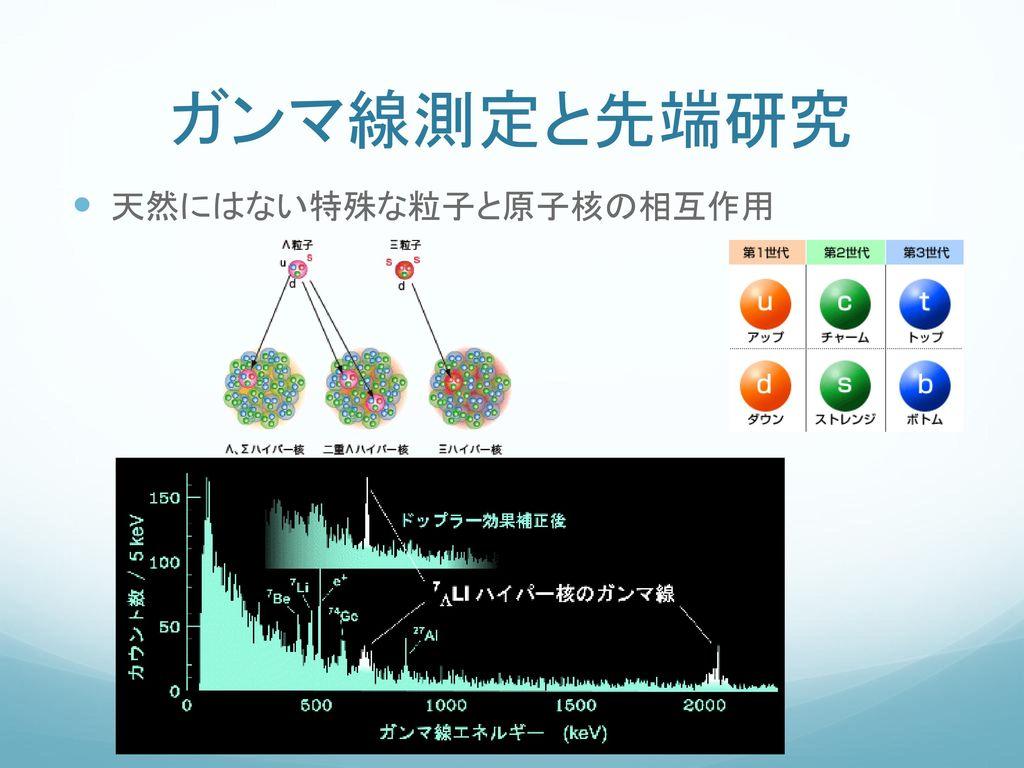 ガンマ線測定と先端研究 天然にはない特殊な粒子と原子核の相互作用