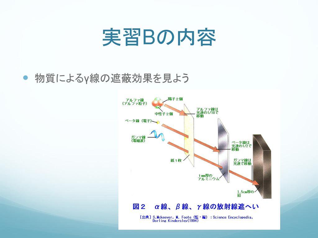 実習Bの内容 物質によるγ線の遮蔽効果を見よう