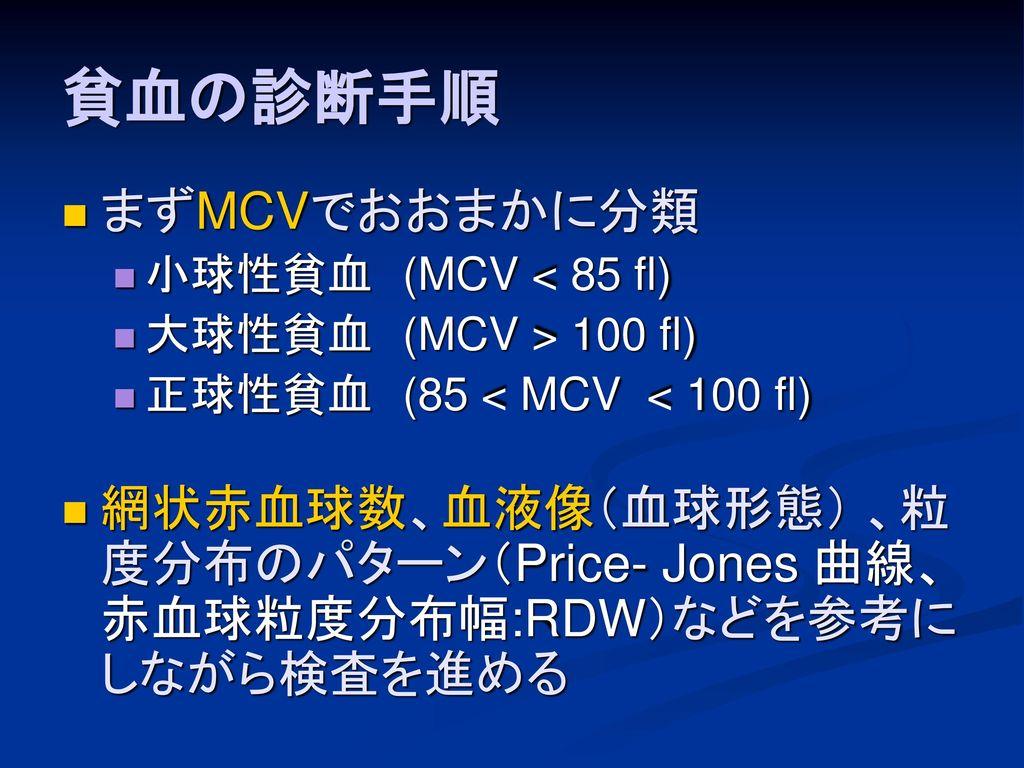 貧血の診断手順 まずMCVでおおまかに分類