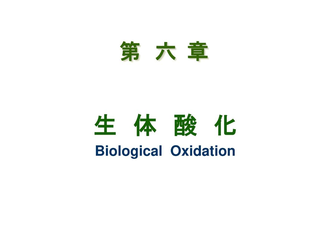 生 体 酸 化 Biological Oxidation