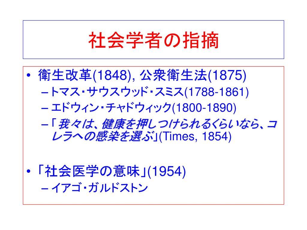 社会学者の指摘 衛生改革(1848), 公衆衛生法(1875) 「社会医学の意味」(1954)
