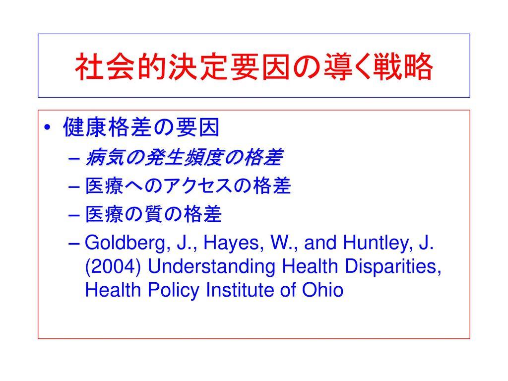 社会的決定要因の導く戦略 健康格差の要因 病気の発生頻度の格差 医療へのアクセスの格差 医療の質の格差