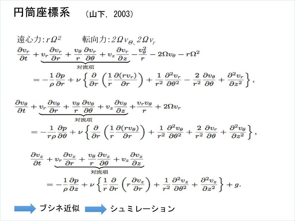 円筒座標系 (山下, 2003) 遠心力:rΩ2 転向力:2ΩvΘ、2Ωvr ブシネ近似 シュミレーション