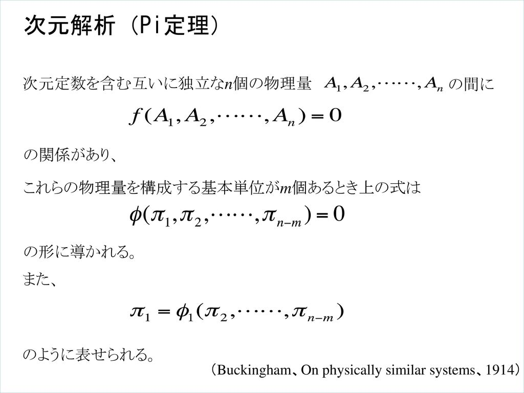 次元解析(Pi定理) 次元定数を含む互いに独立なn個の物理量 の間に の関係があり、 これらの物理量を構成する基本単位がm個あるとき上の式は