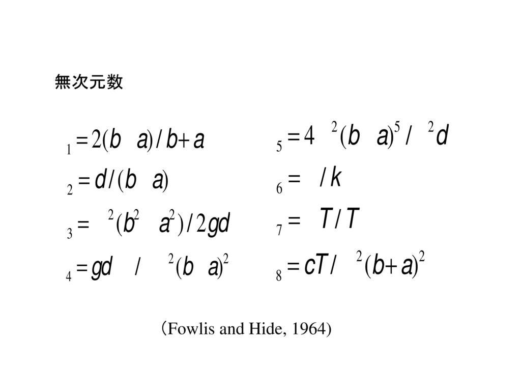 無次元数 6 プラントル数 2 アスペクト比の逆数 (Fowlis and Hide, 1964)