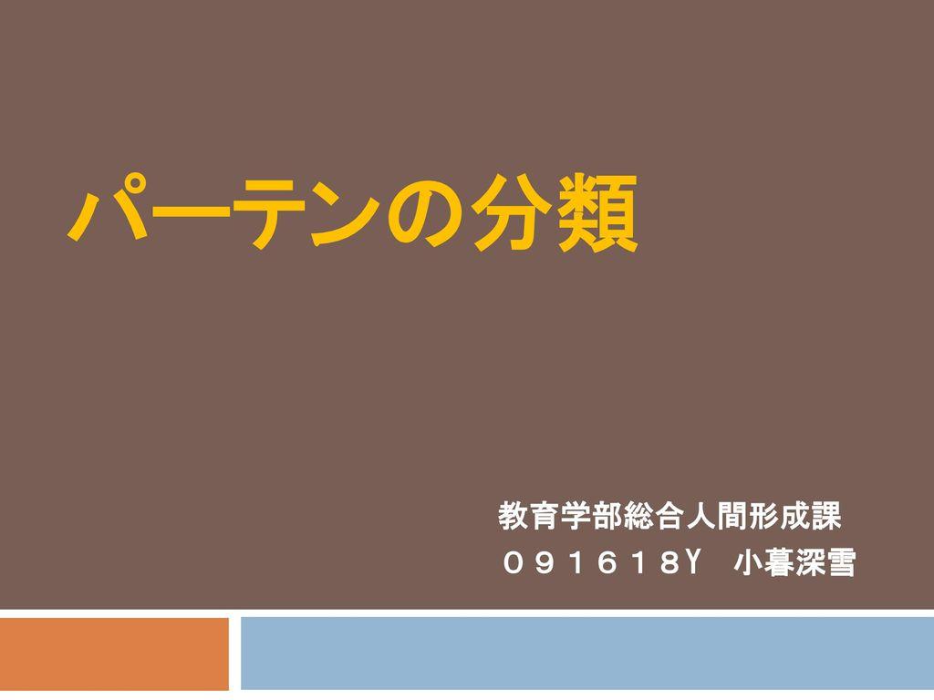 パーテンの分類 教育学部総合人間形成課 091618Y 小暮深雪