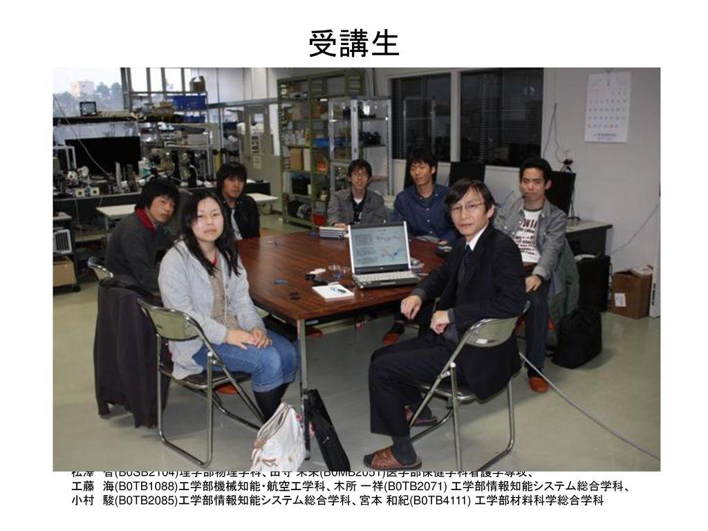 受講生 松澤 智(B0SB2104)理学部物理学科、田守 未来(B0MB2051)医学部保健学科看護学専攻、