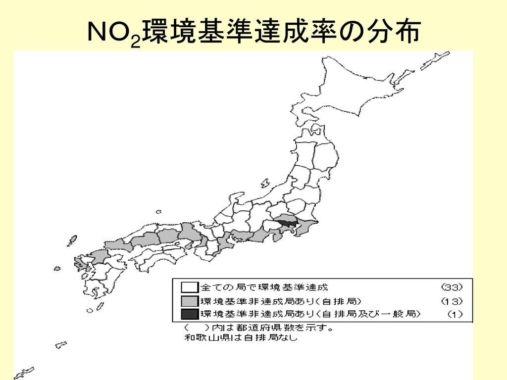 NO2環境基準達成率の分布