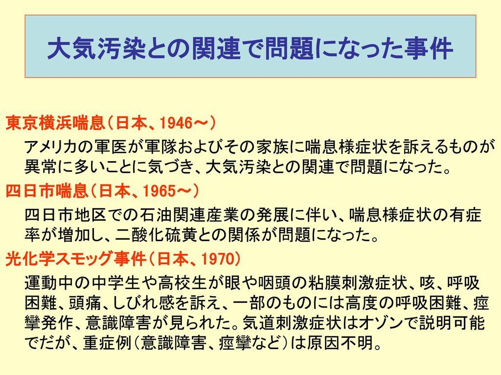 大気汚染との関連で問題になった事件 東京横浜喘息(日本、1946〜)