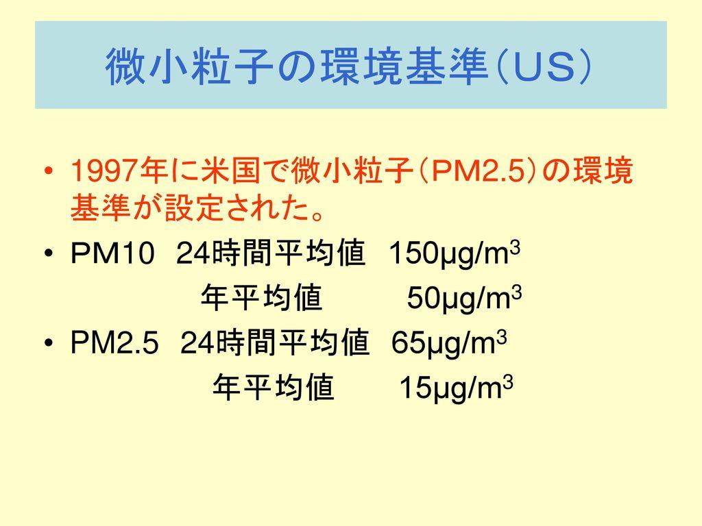 微小粒子の環境基準(US) 1997年に米国で微小粒子(PM2.5)の環境基準が設定された。 PM10 24時間平均値 150μg/m3