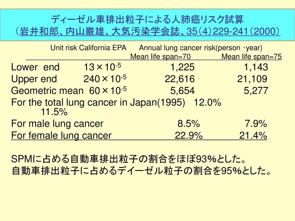 ディーゼル車排出粒子による人肺癌リスク試算 (岩井和郎、内山巌雄、大気汚染学会誌、35(4)229-241(2000)