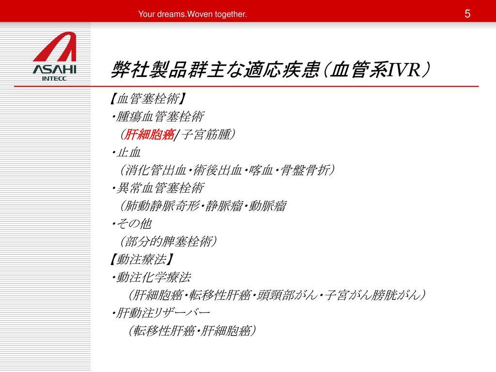 弊社製品群主な適応疾患(血管系IVR)