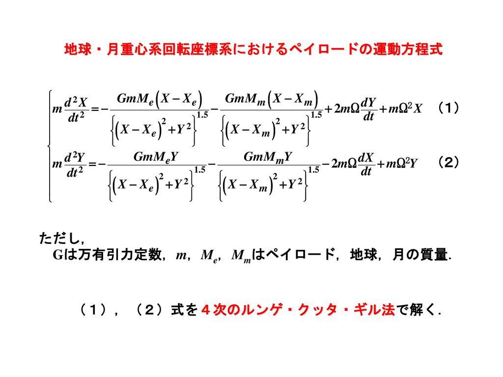 地球・月重心系回転座標系におけるペイロードの運動方程式