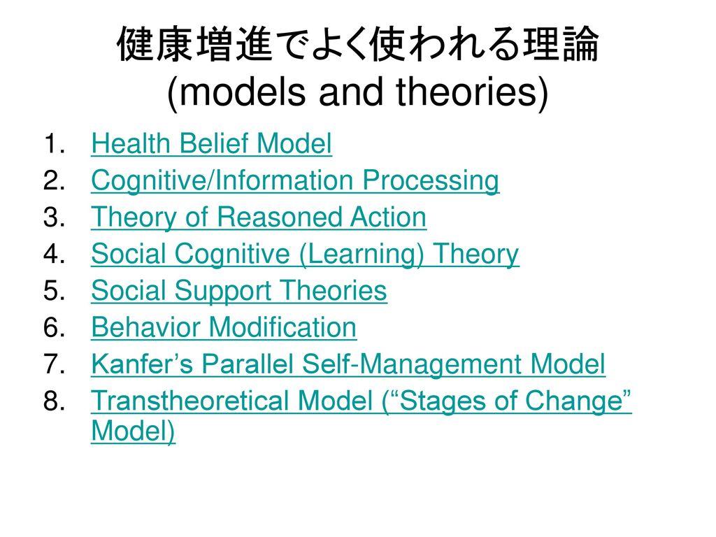 健康増進でよく使われる理論 (models and theories)
