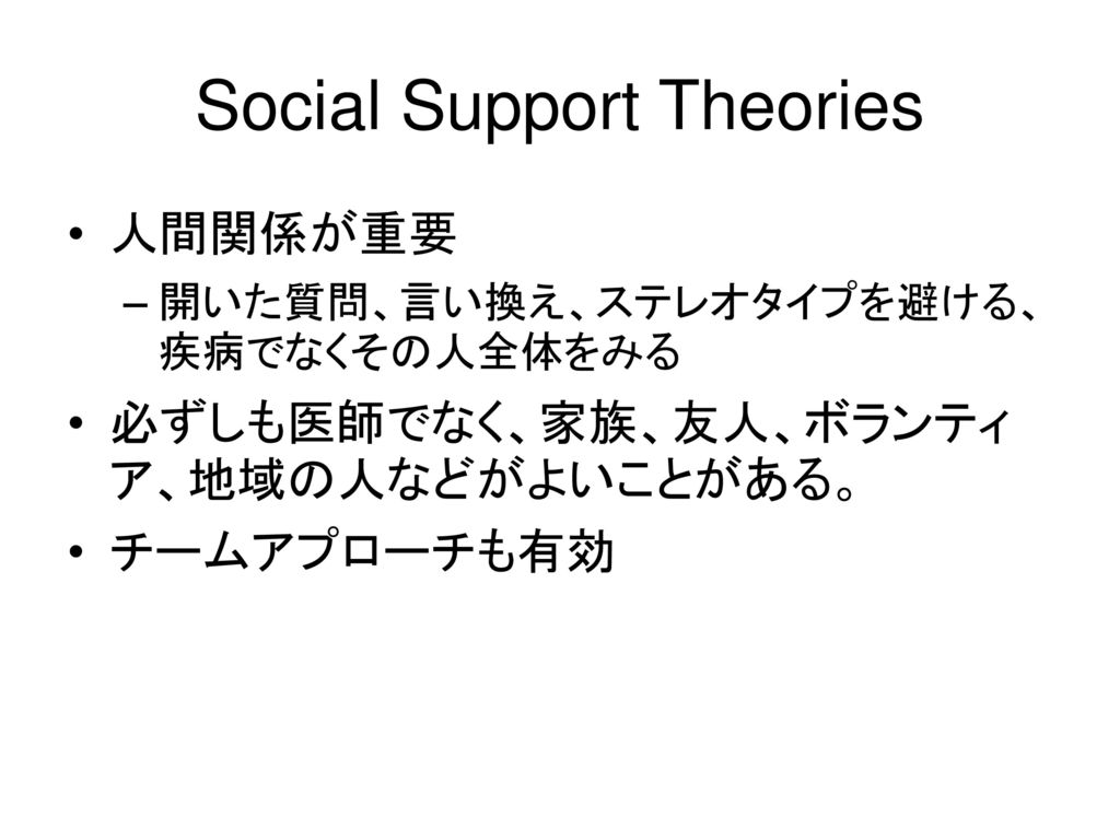 Social Support Theories