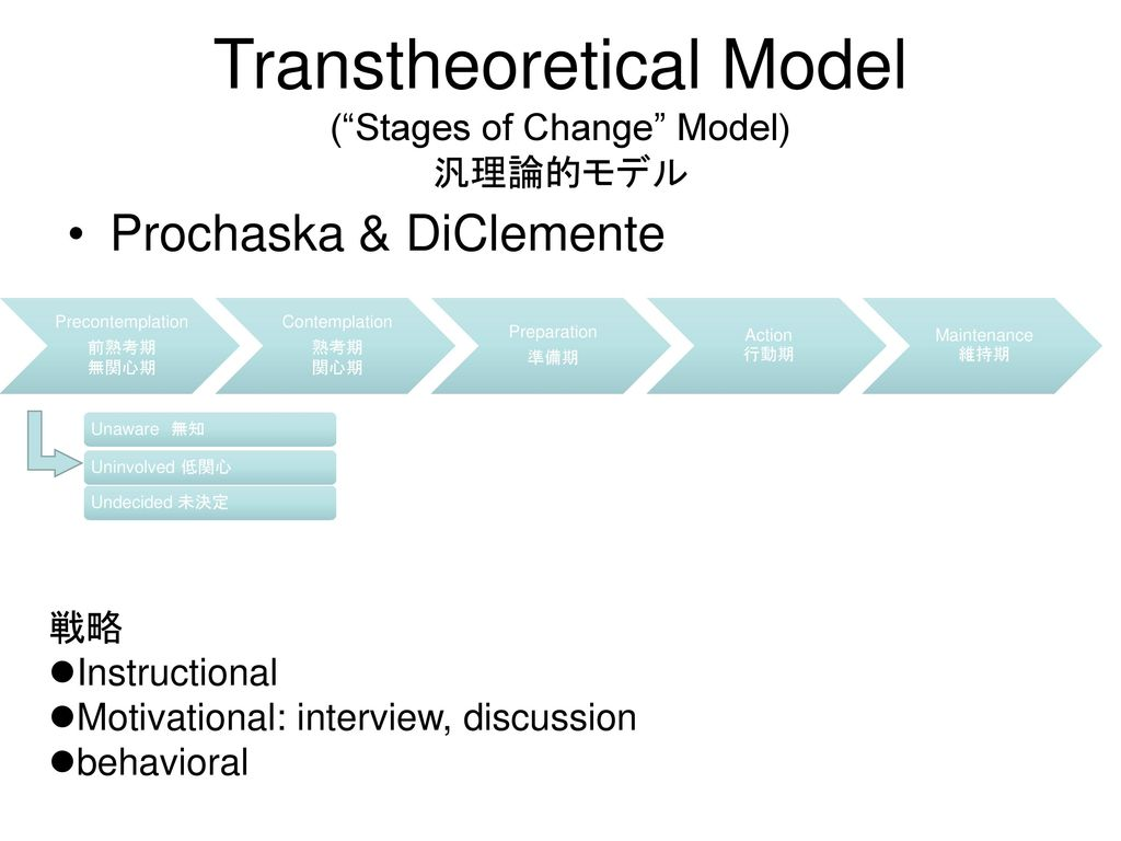 Transtheoretical Model ( Stages of Change Model) 汎理論的モデル