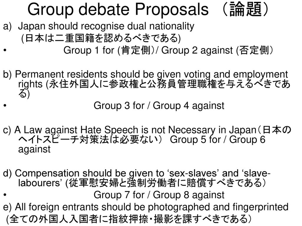 Group debate Proposals (論題)