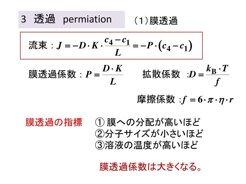 3 透過 permiation (1)膜透過 膜透過の指標 ① 膜への分配が高いほど ②分子サイズが小さいほど ③溶液の温度が高いほど