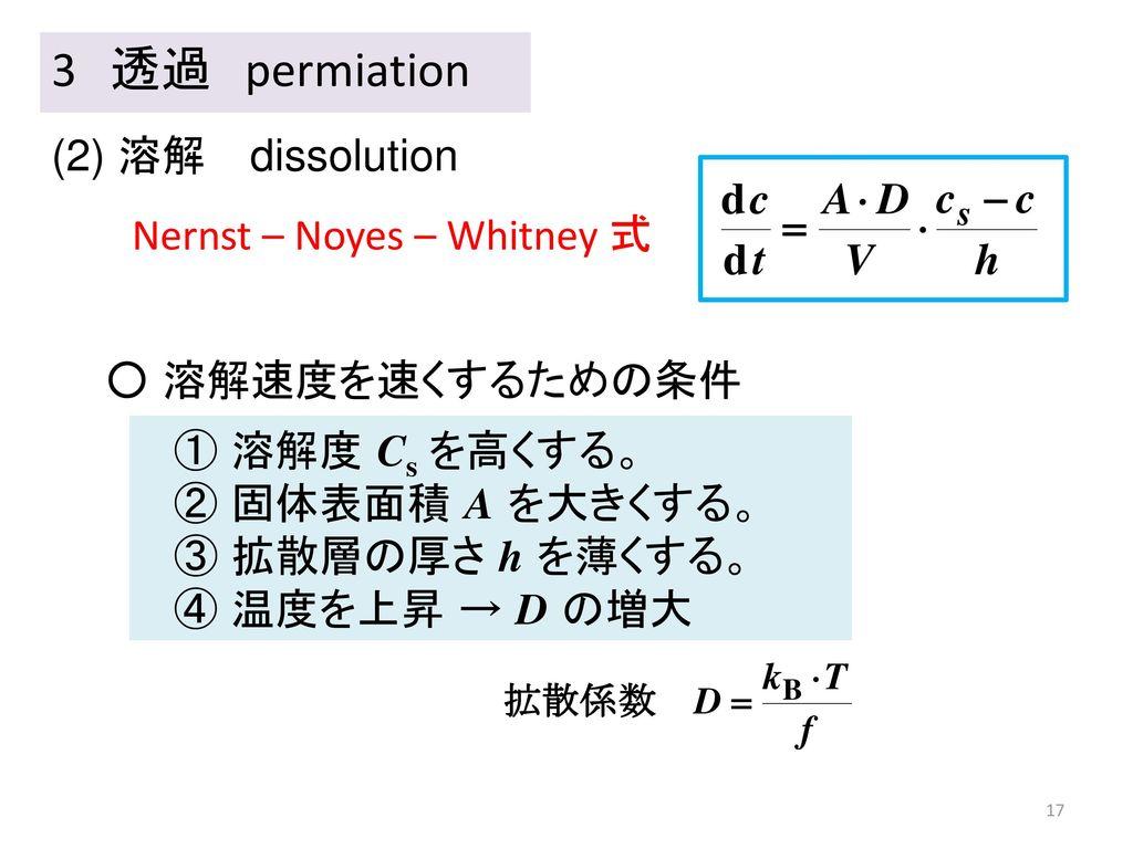 3 透過 permiation (2) 溶解 dissolution Nernst – Noyes – Whitney 式