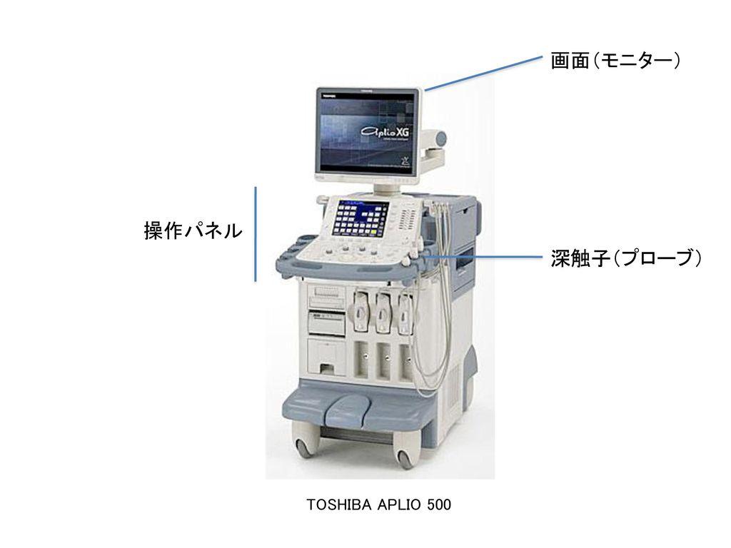 画面(モニター) 操作パネル 深触子(プローブ) TOSHIBA APLIO 500