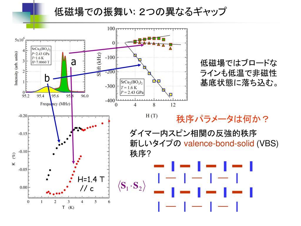 低磁場での振舞い: 2つの異なるギャップ a b 秩序パラメータは何か? 低磁場ではブロードなラインも低温で非磁性基底状態に落ち込む。