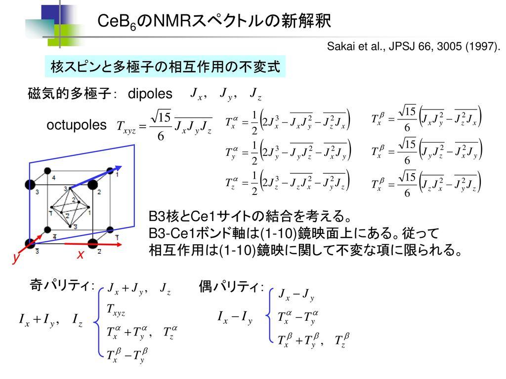 CeB6のNMRスペクトルの新解釈 核スピンと多極子の相互作用の不変式 磁気的多極子: dipoles octupoles