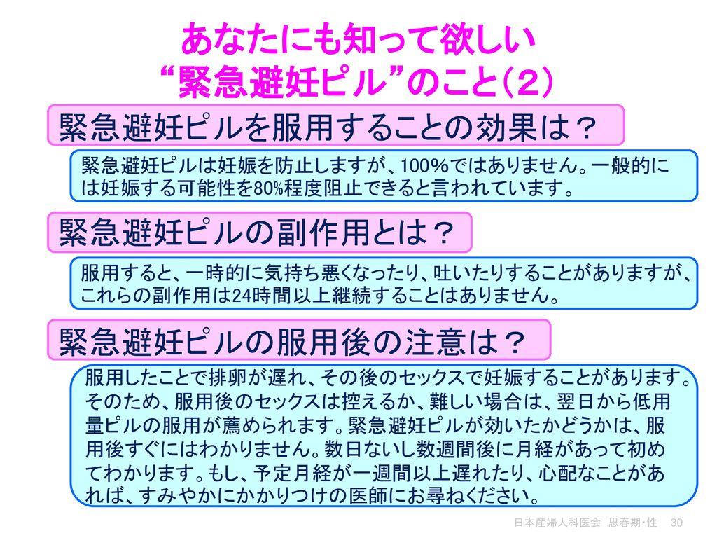 あなたにも知って欲しい 緊急避妊ピル のこと(2)