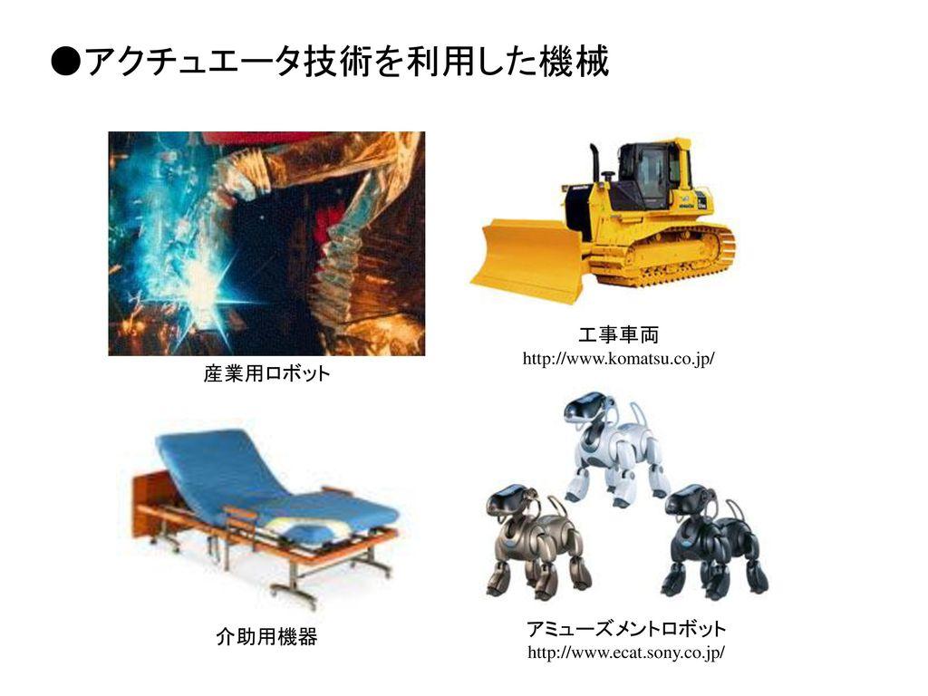 ●アクチュエータ技術を利用した機械 工事車両 産業用ロボット アミューズメントロボット 介助用機器