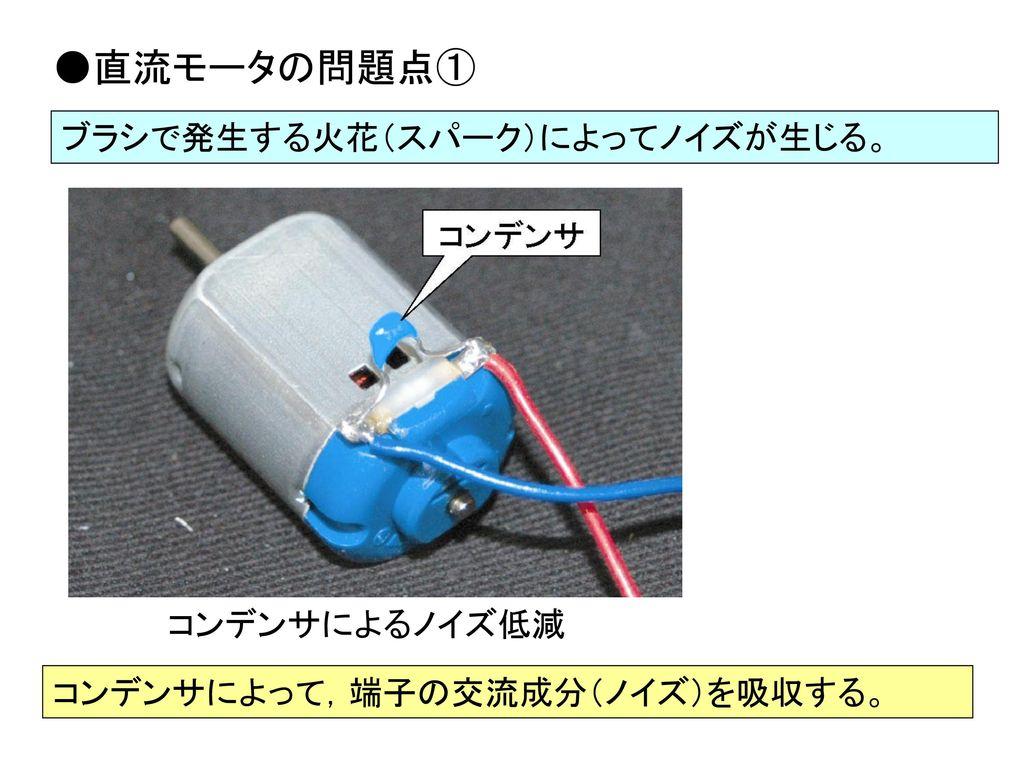 ●直流モータの問題点① ブラシで発生する火花(スパーク)によってノイズが生じる。 コンデンサによるノイズ低減