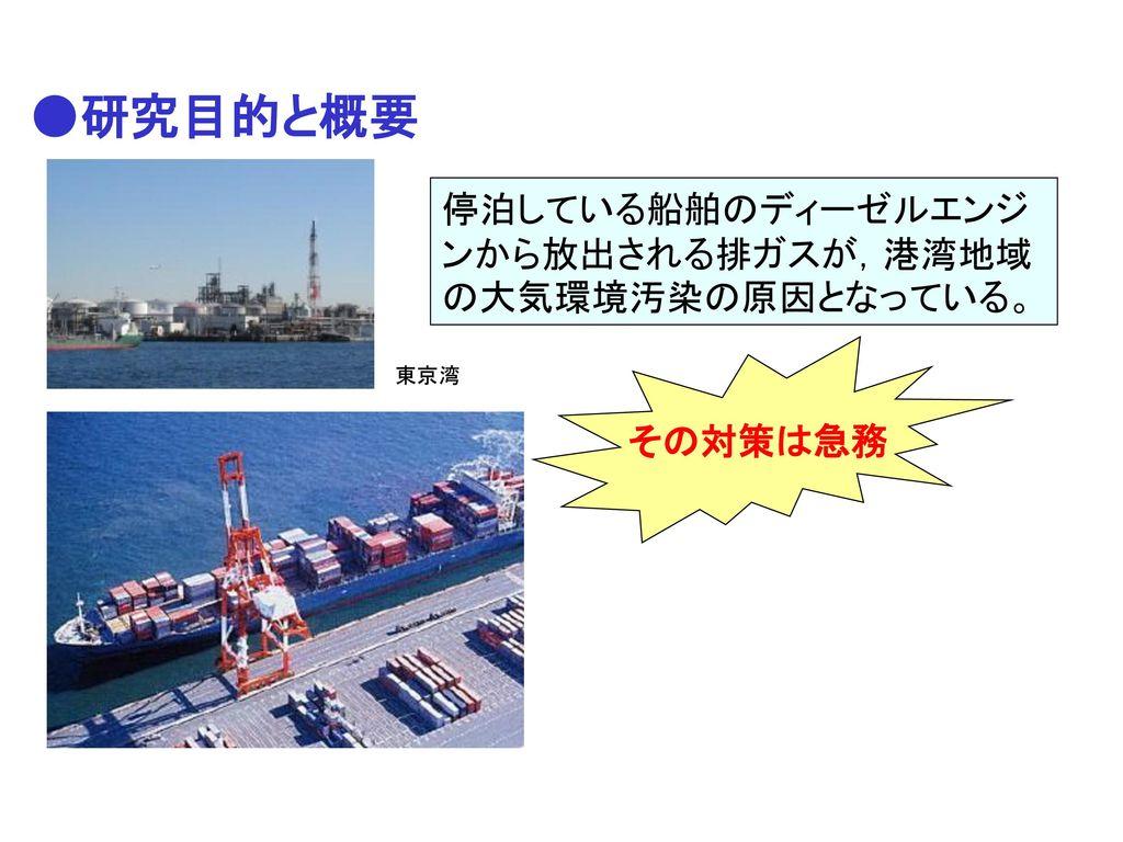 ●研究目的と概要 停泊している船舶のディーゼルエンジンから放出される排ガスが,港湾地域の大気環境汚染の原因となっている。 その対策は急務